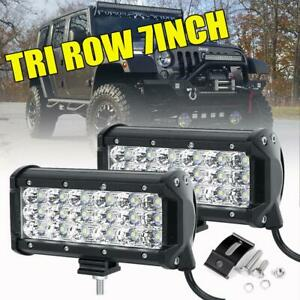 2x Tri row 7inch 180w Cree Led Work Light Bar Flood Offroad Driving 4wd Truck 6