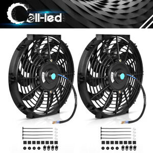 2x Universal 12 Inch Electric Slim Push Pull Radiator Cooling Fan 80w Mount Kit