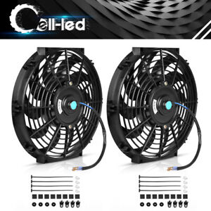 2x12 Inch Slim Push Pull Electric Radiator Cooling Fan 12v Mount Kits Universal