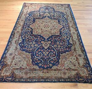 Mint 3x5 Antique Oriental Persian Lavar Kerman Area Rug Blue Tan
