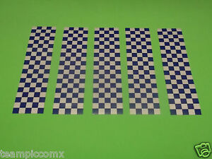 Reflective Checkered Blue Stickers Motorcycle Helmet Scooter Police Safety Bi