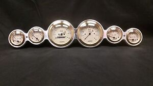6 Gauge Street Rod Hot Rod Universal Dash Cluster Gold