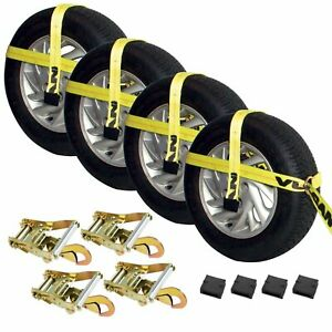 Vulcan Universal Car Trailer Tie Down Kit Fits 13 To 22 5 Tires