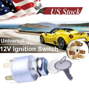 New Car Motorcycle Bike Boat Universal Ignition Key 4 Position Switch Barrel 12v