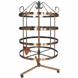 Rotating Earring Tree Holder Jewelry Organizer Stand Antique Display Copper