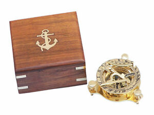 Brass Sundial Compass 3 Nautical Gift With Beautiful Wooden Box Usa Seller