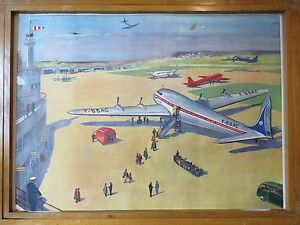 Vintage Les Editions Rossignol School Wall Chart Of The Airport