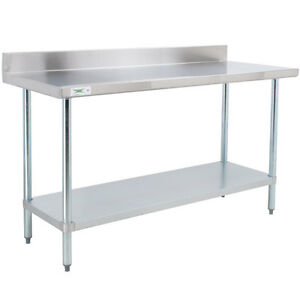 30 X 48 Stainless Steel Work Prep Shelf Table Commercial 4 Backsplash Nsf