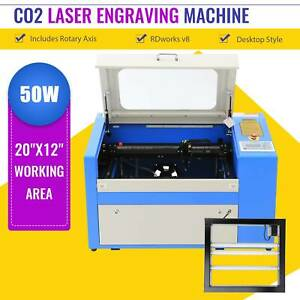 50w Laser Engraving Machine Co2 Engraver Cutter W Auxiliary Rotary Device 20 12