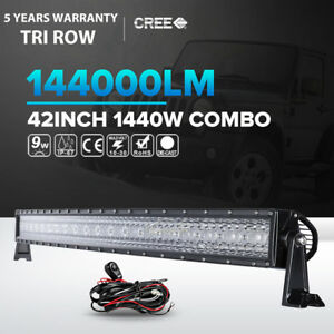 42inch 1440w Curved Led Light Bar Spot Flood Offroad 4wd Driving Lamp Atv 44 50