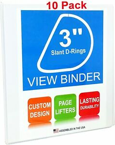 3 Ring Binder 3 Slant D rings White Clear View Pockets 10 Pack