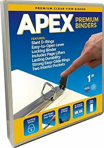 Apex Premium 3 Ring Slant d Binders 1 Inch White Clear View 25 Pack