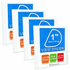 3 Ring Binder Slant D rings Clear View Pockets 1 Inch White 25 Pack