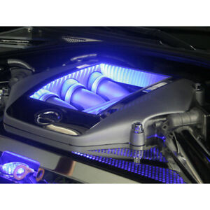 4pc Stainless Steel Engine Shroud Cover W White Led For 2009 2010 Nissan Gt R