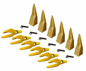 6 Cat Style J200 Backhoe Bucket Shanks 1 Lip Rock Teeth 1u 3202tl 119 3204