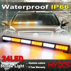 26 24 Led Amber White Strobe Lights Bar Warning Emergency Traffic Advisor Flash