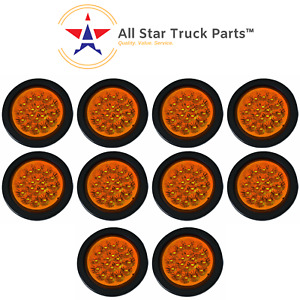 4 Amber 18 Led Round Signal Turn Truck Light With Grommet Pigtail Qty 10