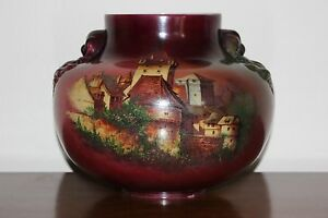 Large Antique Victorian Glass Gwtw Table Oil Lamp Shade Hand Painted Castle