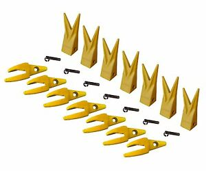 7 Cat J200 Style Backhoe Bucket Shanks 1 Lip Rock Teeth 1u 3202wtl 119 3204