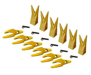 6 Cat J200 Style Backhoe Bucket Shanks 1 Lip Rock Teeth 1u 3202wtl 119 3204