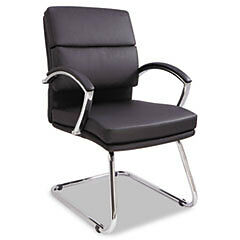 Alera Neratoli Slim Profile Guest Chair Black Leather Chrome Frame Alenr4319