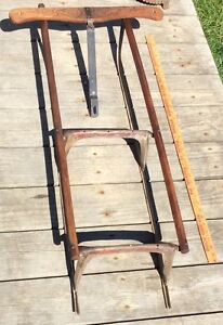 Antique Vintage Runner Sled Frame With Stenciling And Wood Sides