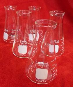 Lot 5 Pyrex Glass Beaker Graduated 250ml Erlenmeyer Flask No 5100 Lab Equipment