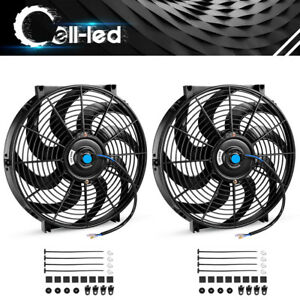 2pc 14inch Engine Reversible Electric Cooling Fan Slim Radiator Assembly S blade