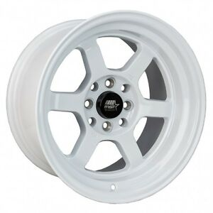 Mst Wheels Time Attack Rims 15x8 4x100 0 Offset Stepped Lip Glossy White New