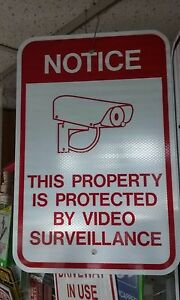 Property Protected By Video Surveillance 12x18 080 Reflective Aluminum Sign
