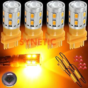 4x3157 High Power Cree 5630 Amber Yellow Turn Signal Led Light Bulbs 4resistors