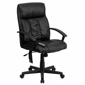 Flash Furniture Black Leather Executive Swivel Office Chair Bt 9578p gg