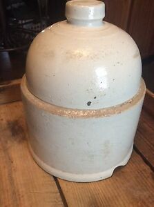 Antique Primitive Stoneware Crock Chicken Feeder Waterer Top