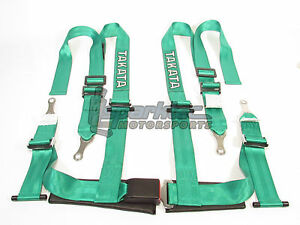 Takata Drift Ii Bolt On Seat Belt Safety Harness Green 2 Shoulder Lap 4 Point