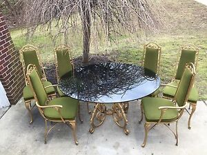 Mid Century Regency Gold Dining Set Table Chairs Trojan Metal Ny Smoky Glass