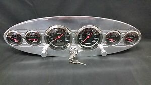 6 Gauge Universal Oval Dash Cluster With Switches Black