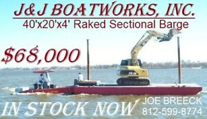 New 40 X 20 X 4 Sectional Barge Work Barge Dredge Barge