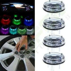 4pcs Solar Energy Led Car Auto Flash Wheel Tire Hub Valve Cap Neon Light Lamp