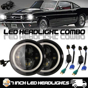 7 Round Black Led Angel Eye Halo Projector Hi lo Headlights Ford Mustang 65 78