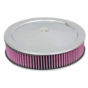 14in Chrome Air Cleaner Recessed Base With Washable Filter Gm Mopar Ford Chevy