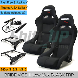Bride Vios 3 Iii Black Low Max Pair Seats W Slider Side Mount For 240sx S13 S14