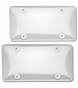 2 Clear License Plate Tag Frame Covers Bubble Shields Protector For Car Truck