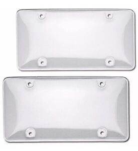 2pcs Abs Plastic Clear License Plate Tag Cover Frame Protector For Us Car
