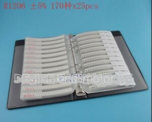 Smd Resistor Assorted Book Kit 1206 5 1 4w 25x 170 Values 4250pcs 0r 10m