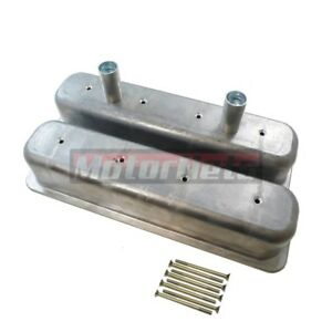 Sbc Chevy Raw Unplated Aluminum Centerbolt Circle Track Dirt Valve Cover 305 350