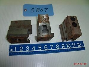 Set Of 3 Used Lathe Chuck Jaws Machine Shop Tool Serrated And Keys W top Jaws