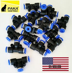 10pcs Pneumatic Tee Union Connector Tube Od 5 16 8mm One Touch Push In Air Fitt