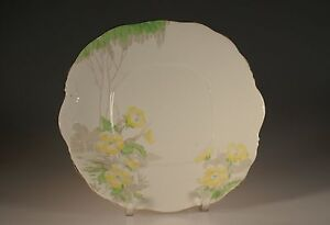 St Michael China Art Deco Butter Cup Double Handled Square Cake Plate England