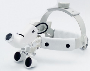 Surgical 5w Led Headlight 2 5x420mm Leather Headband Loupe With Light Dy 105