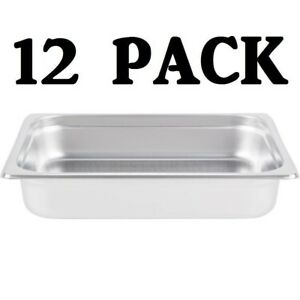 12 Pack Half Size Stainless Steel 2 1 2 Deep Steam Prep Table Chafing Dish Pan